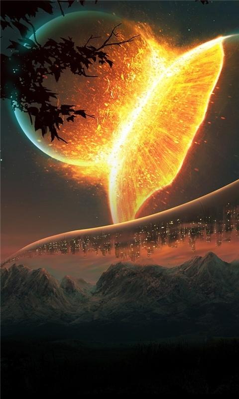 Futuristic Planets Windows Phone Wallpaper
