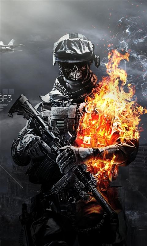 Battlefield 3 Skulls Fire Windows Phone Wallpaper