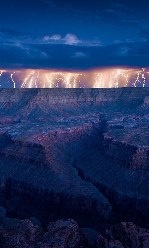 Grand Canyon Lightning Windows Phone Wallpaper