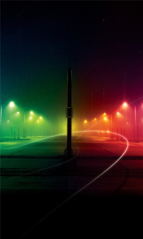 Night Rainbow Road Windows Phone Wallpaper