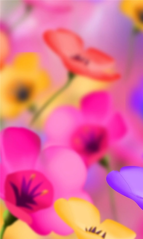 Digital Colorful Flowers Windows Phone Wallpaper